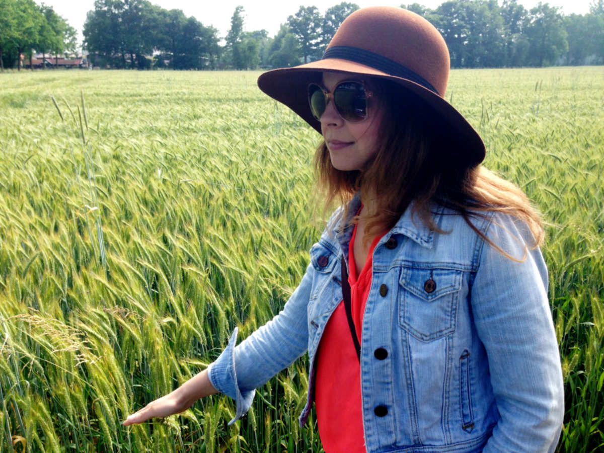 Amber Merrick in field in Germany