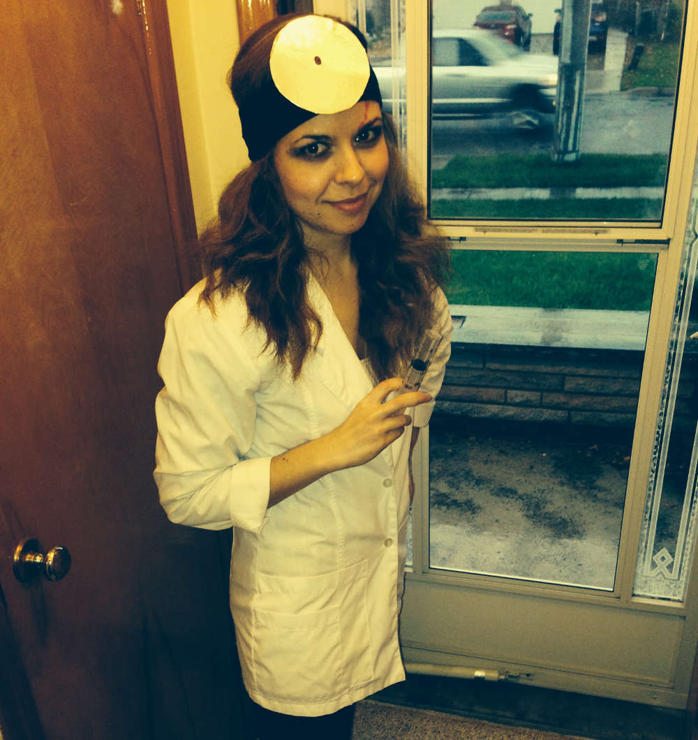 Amber Merrick as zombie doctor on Halloween